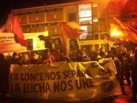Pancartas y banderas. Concentración 7 de febrero en Cuenca. Fuente: Propia