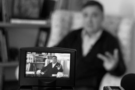 Gervasio Sánchez durante la entrevista. Foto: Ángel Marzal