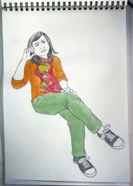 Retrato de Nerea por Iván Solves, ilustrador